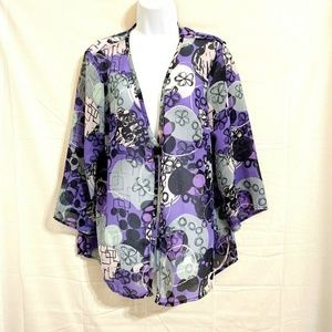 Sheer Purple Top Blouse Cover 1 Button Size XL U24